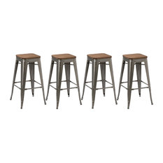 """Btexpert - 30"""" Stackable Antique-Style Brush Distressed Bar Stools Wood Seat, Set of 4 - Bar Stools and Counter Stools"""