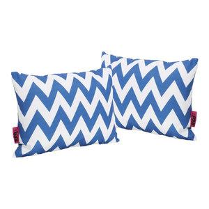 GDF Studio Ernest Indoor Zig Zag Rectangular Throw Pillow, Blue, Set of 2