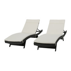 GDF Studio Nassau Outdoor Gray Wicker Chaise Lounge, Beige Cushions, Set of 2