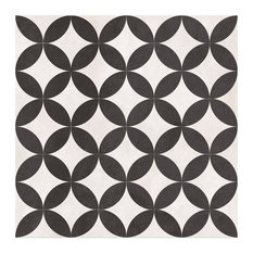 Wall and Floor Tile, Matte Black and Ivory, 1 m²