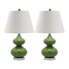 Safavieh Eli Table Lamps, Glass, Set of 2, Fern Green