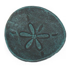 Cast Iron Sand Dollar Decorative Plate, Seaworn Blue, 6""