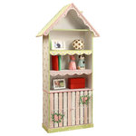 Fantasy Fields - Crackled Rose Bookshelf - Bring the picket fence lifestyle into high fashion with the Crackled Rose Bookcase. This stylish hutch bookcase offers three shelves for your child to place books, stuffed animals, pictures and much more. Below is a practical storage area hidden by a white and pink picket fence with two decorative knobs. Bring elegance and class to any nursery or playroom with this beauty. Some assembly required. Perfect for ages 3 and up.