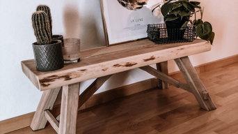 Dekorative Holzbank aus sibirischer Lärche