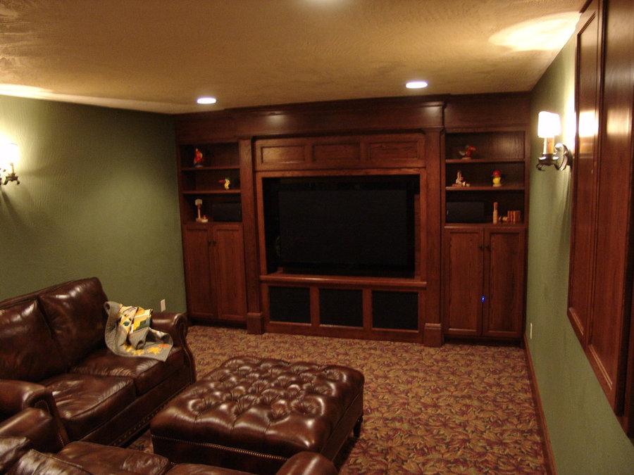 Traditional Basement Media Room Television Installation