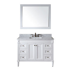 "Virtu USA Tiffany 48"" Single Bathroom Vanity With Marble Top, White"