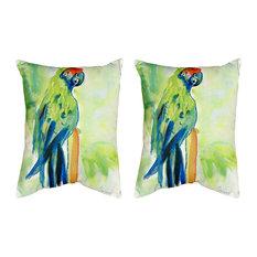 Pair of Betsy Drake Green Parrot No Cord Pillows 16 Inch X 20 Inch
