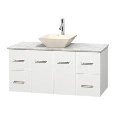 "48"" Single Bathroom Vanity in White, White Carrera Marble Countertop, Sink"