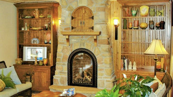 Gas Fireplace with Arched Bead Board Doors