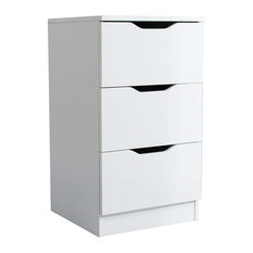 Modern Bedside Table, White Finished MDF With Storage Drawers and Open Shelf