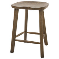 """Tractor Style 25"""" Wooden Counter Height Stool in Vintage Smoke Wire Brush Finish"""