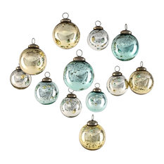 Set of 12 Vintage Style Glass Ball Ornaments for Xmas Tree, Gold, Blue & Silver