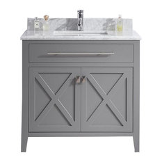 """Wimbledon Collection 36"""" Gray Vanity with Countertop"""