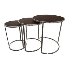 Bronze on Black Metallic Shagreen Leather Set of 3 Nesting Console Tables