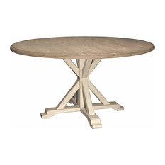 Ferro French Country White Oak Alder Wood Round Dining Table   Dining Tables