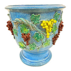 bonechi imports tuscan nd dolfi extra large footed cachepot planter with grapes indoor pots - Large Ceramic Planters