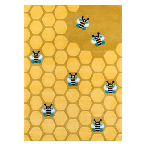 Lil Mo Whimsy Polyester, Hand-Tufted Rug, Honey Comb Gold, 2'x3'