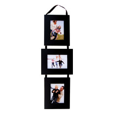 """3 Opening Collage Picture Frame Set, Black Frames On Ribbon, 5""""x7"""""""