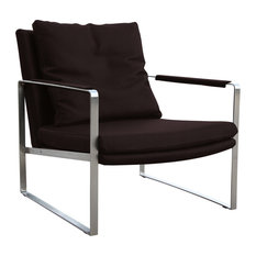 Zara Arm Chair, Stainless Steel Base, Gray Genuine Leather
