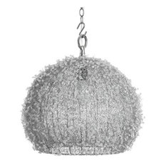 Handcrafted Beaded Spherical Ceiling Pendant Light, Silver