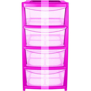 Modern Chest of Drawers in Plastic with Pink Frame and Clear Drawers, 4 Drawers
