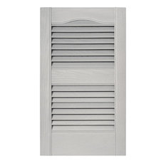 Louvered Shutters In Paintable Vinyl, Set Of 2