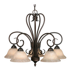 Homestead 5-Light Nook Chandelier, Rubbed Bronze With Tea Stone Glass