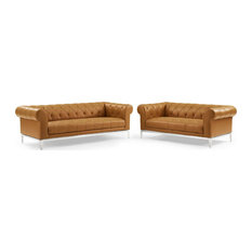 Idyll Tufted Upholstered Leather Sofa And Loveseat Set Tan