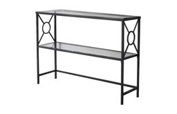 Black & Brushed Copper Metal With Tempered Glass Modern Console Table