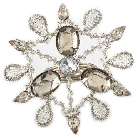 Champagne Jeweled Snowflake Holiday Design Napkin Rings - Set of 4