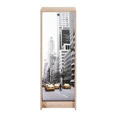 Natural Oak Vertical Shutter Filing Cabinet, Manhattan