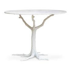 Bijou Global Bazaar White Tree Branch Iron Marble Petite Dining Table, White