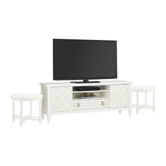 3 Piece Living Room Set with TV Stand and 2 Round End Tables in White