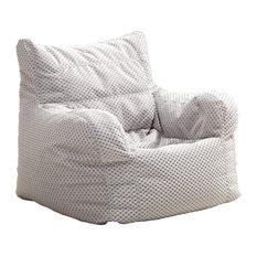 Small Diamond-Weave Arm Chair Bean Bag, Silver