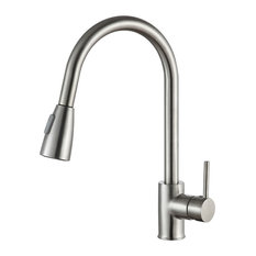 ANZZI Sire Single Handle Kitchen Faucet With Pull Out Sprayer, Brushed Nickel