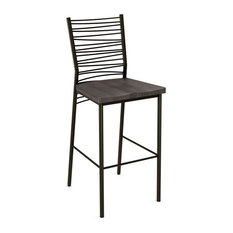 Steel Wired Back Non Swivel Stool Counter Seat - Wood
