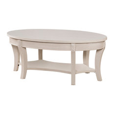 Southern Enterprises   Tobias Traditional Oval Cocktail Table, Whitewash   Coffee  Tables