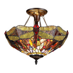 Dragan 2-Light Dragonfly Semi-Flush Ceiling Fixture