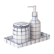 Brandon 3-Piece Bath Accessory Set, Ensign Blue and White