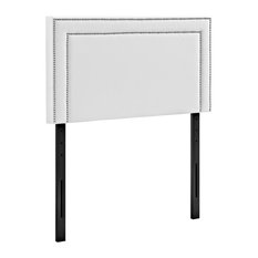 Modern Contemporary Urban Bedroom Twin Size Headboard White Faux Leather