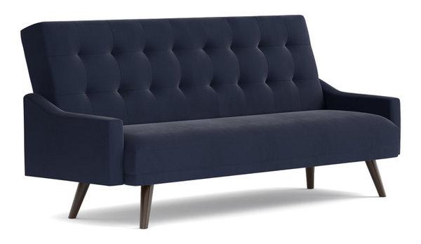 oak creek click clack futon sofa bed navy blue velvet midcentury futons by handy living. Black Bedroom Furniture Sets. Home Design Ideas