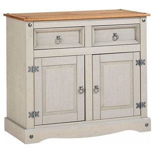 Traditional Sideboard, Solid Pine Wood With 2 Storage Drawers and Doors