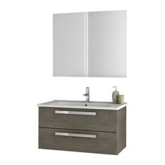 "33"" Gray Oak Bathroom Vanity Set"