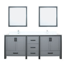 Ziva 80-inch Vanity Cultured Marble Top White Square Sink & 30-inch Mirrors W/ Faucets
