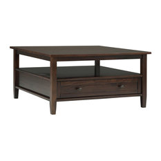 Warm Shaker Solid Wood Square Coffee Table, Tobacco Brown