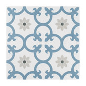 """SomerTile 9 3/4""""x9 3/4"""" Daria Porcelain Floor and Wall Tile, Blue"""