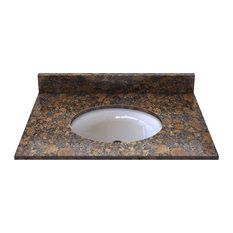 Sable Brown Granite Top With Pre-Mounted Ceramic Bowl