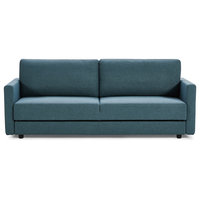 Divani Casa Fredonia Modern Blue-Green Fabric Sofa Bed With Storage