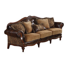 Acme Dreena Traditional Bonded Leather and Chenille Sofa