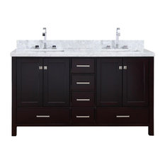 "Cambridge 61"" Bath Vanity, Espresso With Marble Top With White Basin"
